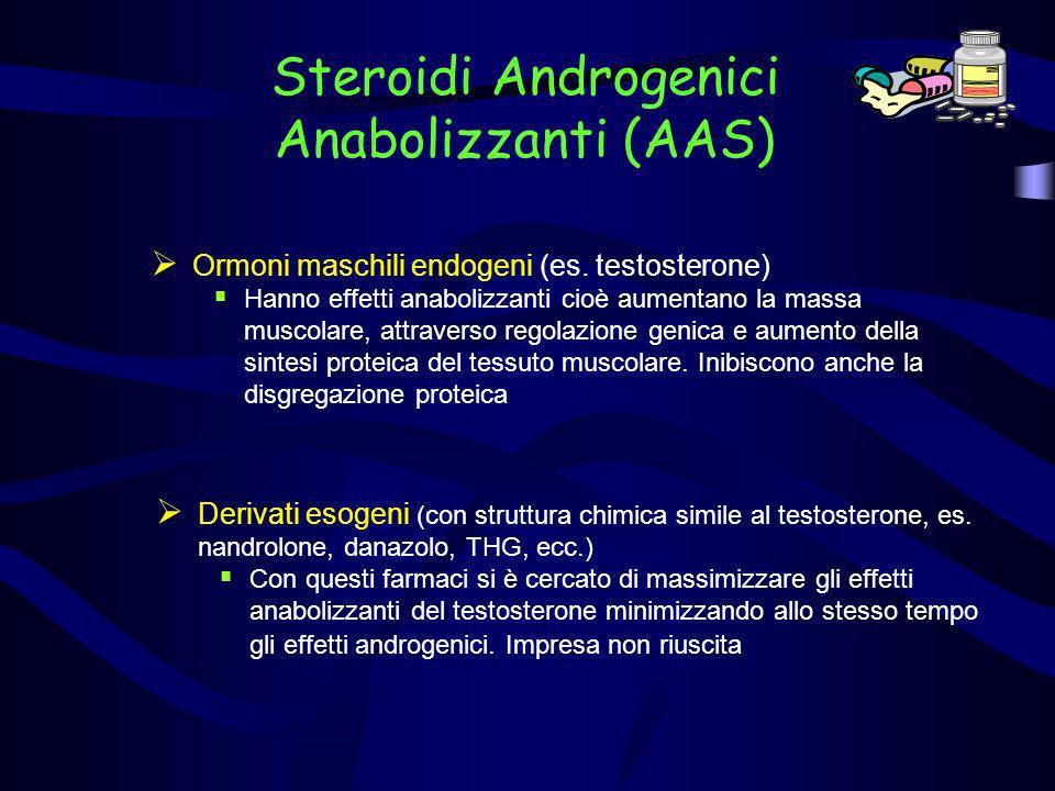 Steroidi Androgenici Anabolizzanti (AAS) Ormoni maschili endogeni (es. testosterone) Hanno effetti anabolizzanti cioè aumentano la massa muscolare, at