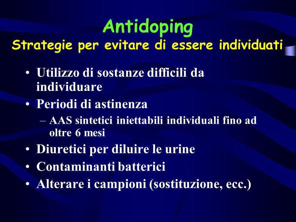 Antidoping Strategie per evitare di essere individuati Utilizzo di sostanze difficili da individuare Periodi di astinenza –AAS sintetici iniettabili i
