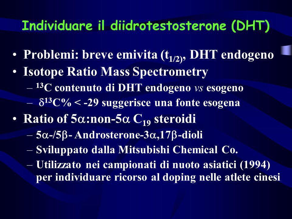 Individuare il diidrotestosterone (DHT) Problemi: breve emivita (t 1/2), DHT endogeno Isotope Ratio Mass Spectrometry – 13 C contenuto di DHT endogeno