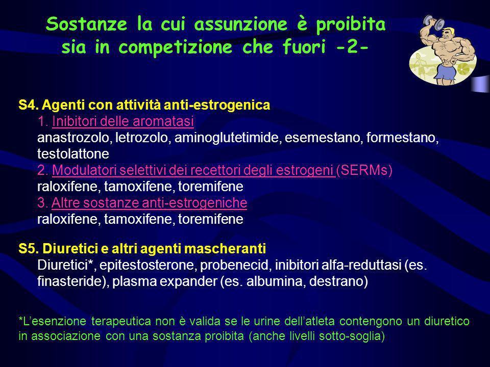 S4. Agenti con attività anti-estrogenica 1. Inibitori delle aromatasi anastrozolo, letrozolo, aminoglutetimide, esemestano, formestano, testolattone 2