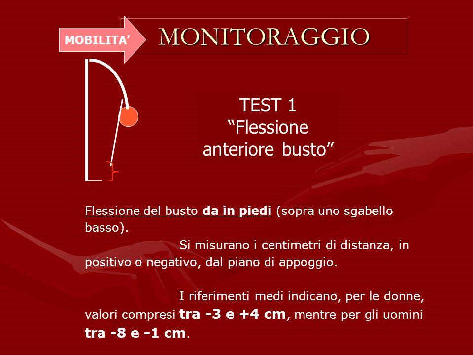 MONITORAGGIO MOBILITA TEST 1 Flessione anteriore busto Flessione del busto da in piedi (sopra uno sgabello basso). Si misurano i centimetri di distanz