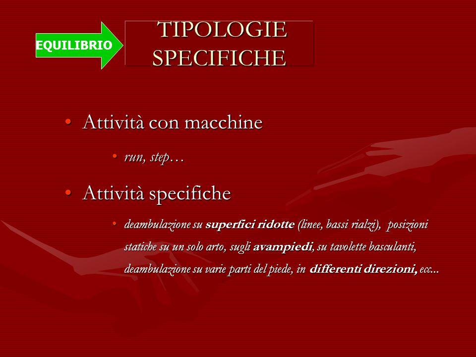 TIPOLOGIE SPECIFICHE TIPOLOGIE SPECIFICHE Attività con macchineAttività con macchine run, step…run, step… Attività specificheAttività specifiche deamb
