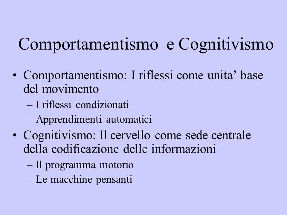 Comportamentismo e Cognitivismo Comportamentismo: I riflessi come unita base del movimento –I riflessi condizionati –Apprendimenti automatici Cognitiv
