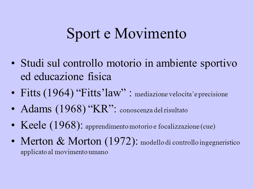 Sport e Movimento Studi sul controllo motorio in ambiente sportivo ed educazione fisica Fitts (1964) Fittslaw : mediazione velocitae precisione Adams