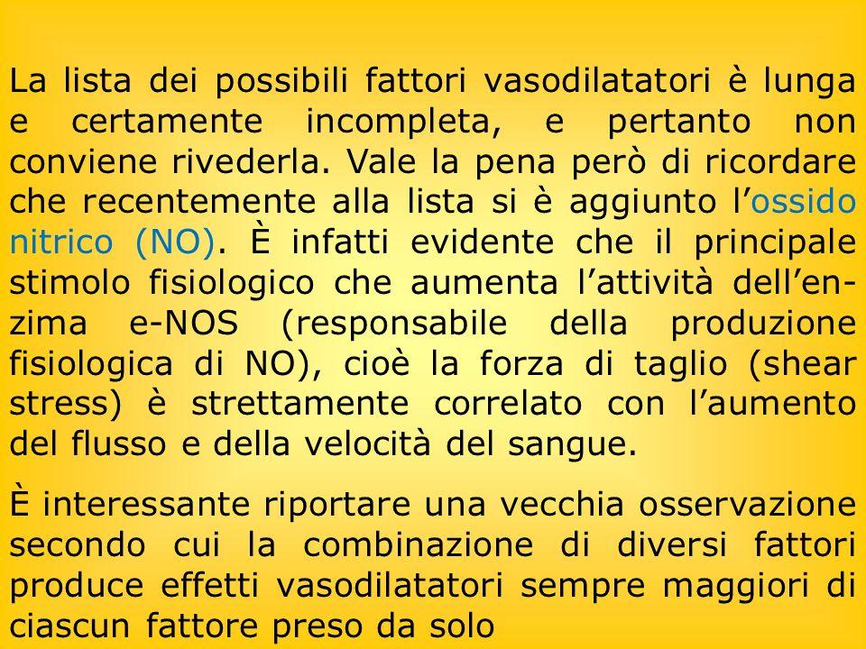 La lista dei possibili fattori vasodilatatori è lunga e certamente incompleta, e pertanto non conviene rivederla.