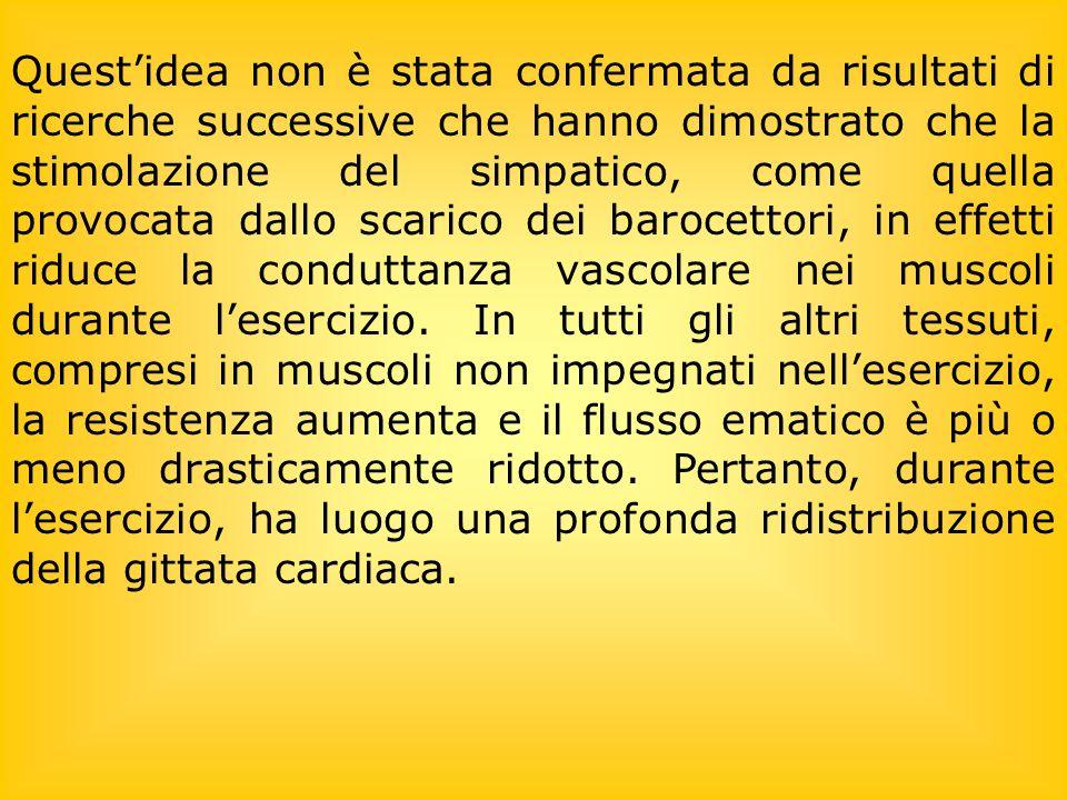 Questidea non è stata confermata da risultati di ricerche successive che hanno dimostrato che la stimolazione del simpatico, come quella provocata dallo scarico dei barocettori, in effetti riduce la conduttanza vascolare nei muscoli durante lesercizio.