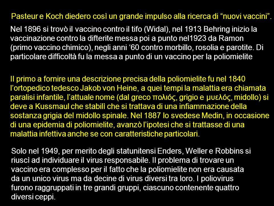 Pasteur e Koch diedero così un grande impulso alla ricerca di nuovi vaccini. Nel 1896 si trovò il vaccino contro il tifo (Widal), nel 1913 Behring ini