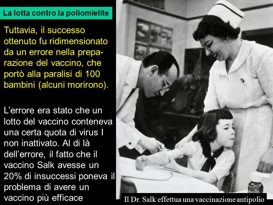 La lotta contro la poliomielite Il Dr. Salk effettua una vaccinazione antipolio Tuttavia, il successo ottenuto fu ridimensionato da un errore nella pr