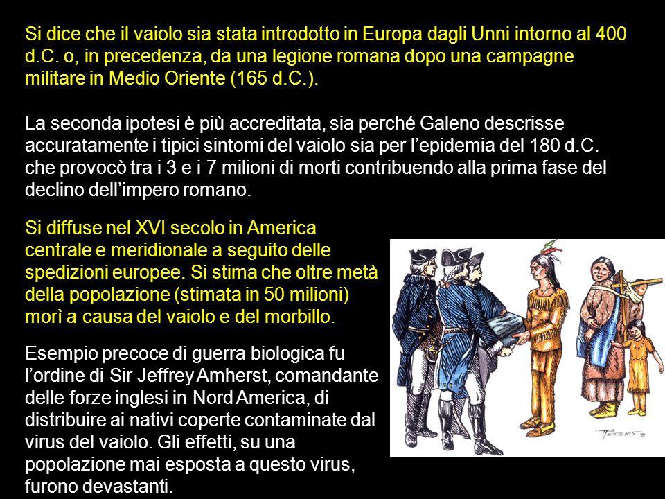 Si dice che il vaiolo sia stata introdotto in Europa dagli Unni intorno al 400 d.C. o, in precedenza, da una legione romana dopo una campagne militare