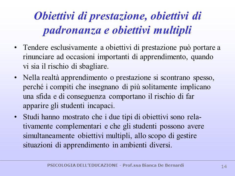 PSICOLOGIA DELLEDUCAZIONE - Prof.ssa Bianca De Bernardi 14 Obiettivi di prestazione, obiettivi di padronanza e obiettivi multipli Tendere esclusivamen