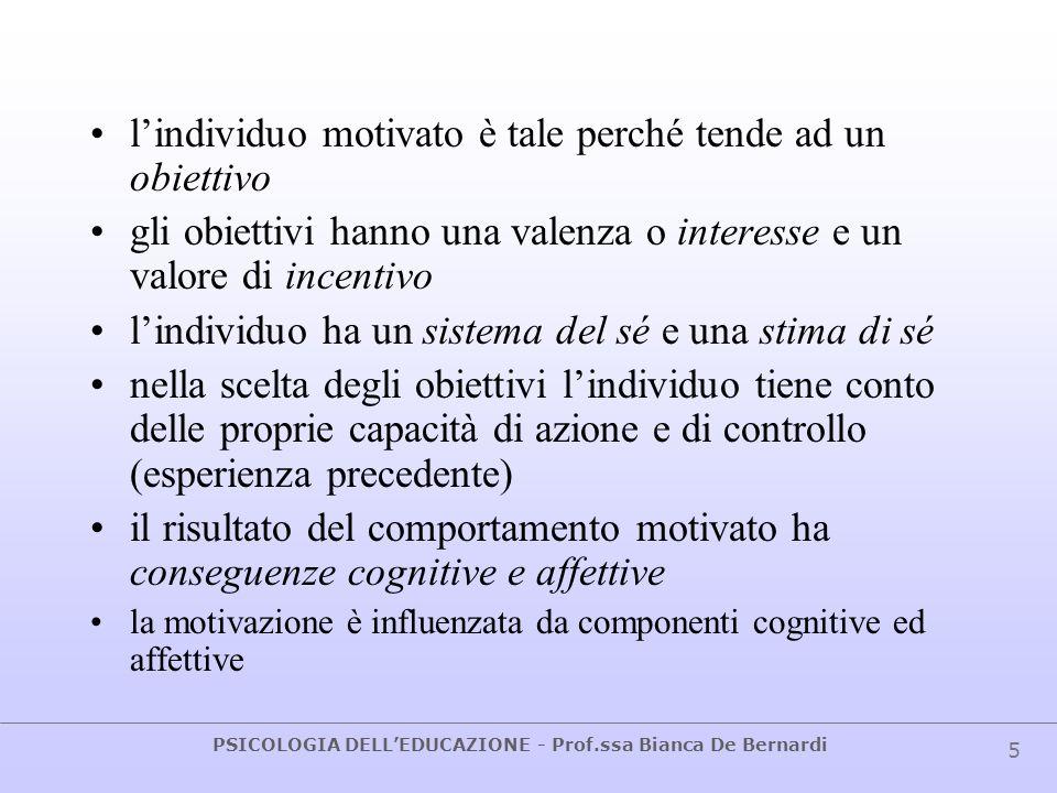 PSICOLOGIA DELLEDUCAZIONE - Prof.ssa Bianca De Bernardi 5 lindividuo motivato è tale perché tende ad un obiettivo gli obiettivi hanno una valenza o in