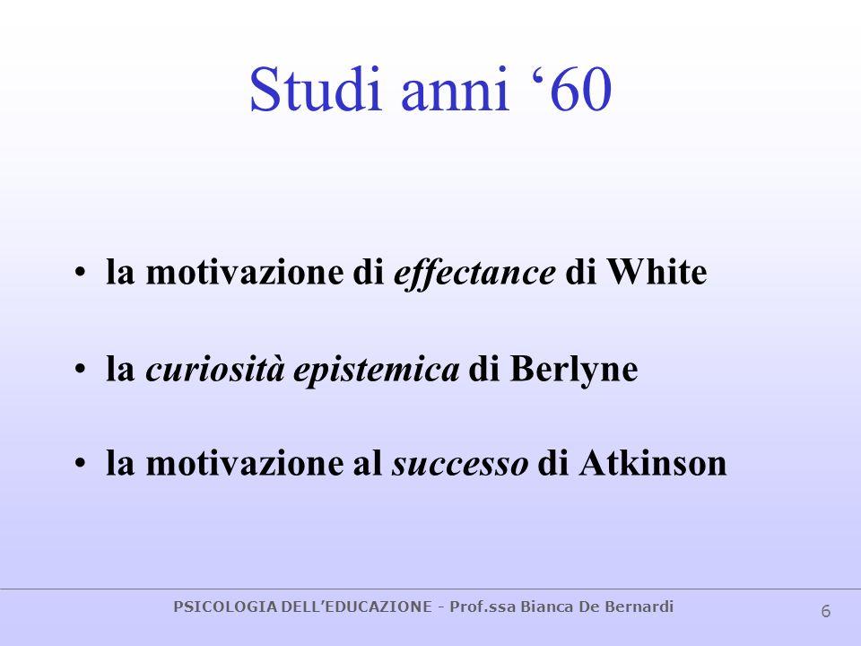 PSICOLOGIA DELLEDUCAZIONE - Prof.ssa Bianca De Bernardi 6 Studi anni 60 la motivazione di effectance di White la curiosità epistemica di Berlyne la mo