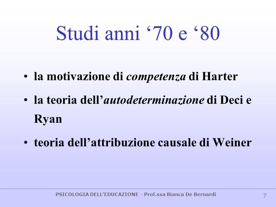 PSICOLOGIA DELLEDUCAZIONE - Prof.ssa Bianca De Bernardi 7 Studi anni 70 e 80 la motivazione di competenza di Harter la teoria dellautodeterminazione d