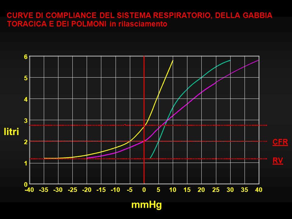 Lavoro della respirazione Si calcola dalla curva pressione/volume E normalmente piccolo (5% del consumo di O 2 totale) Aumenta nella respirazione forzata, quando il volume viene portato a valori per i quali la compliance si riduce.