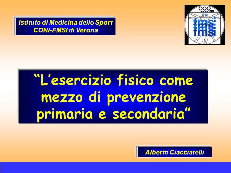 Lesercizio fisico come mezzo di prevenzione primaria e secondaria Alberto Ciacciarelli Istituto di Medicina dello Sport CONI-FMSI di Verona