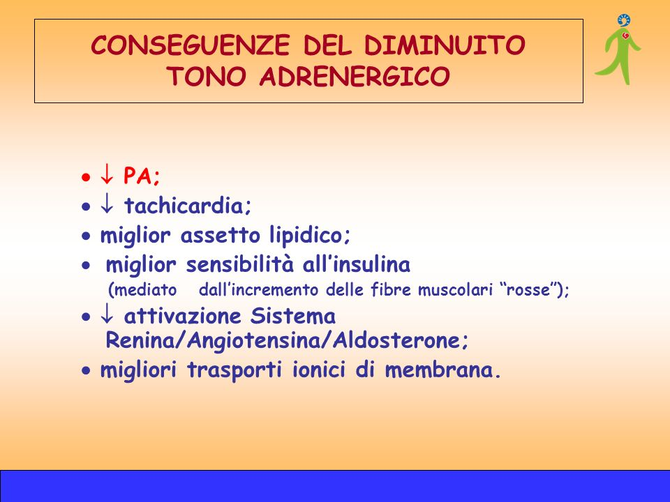 CONSEGUENZE DEL DIMINUITO TONO ADRENERGICO PA; tachicardia; miglior assetto lipidico; miglior sensibilità allinsulina (mediato dallincremento delle fi