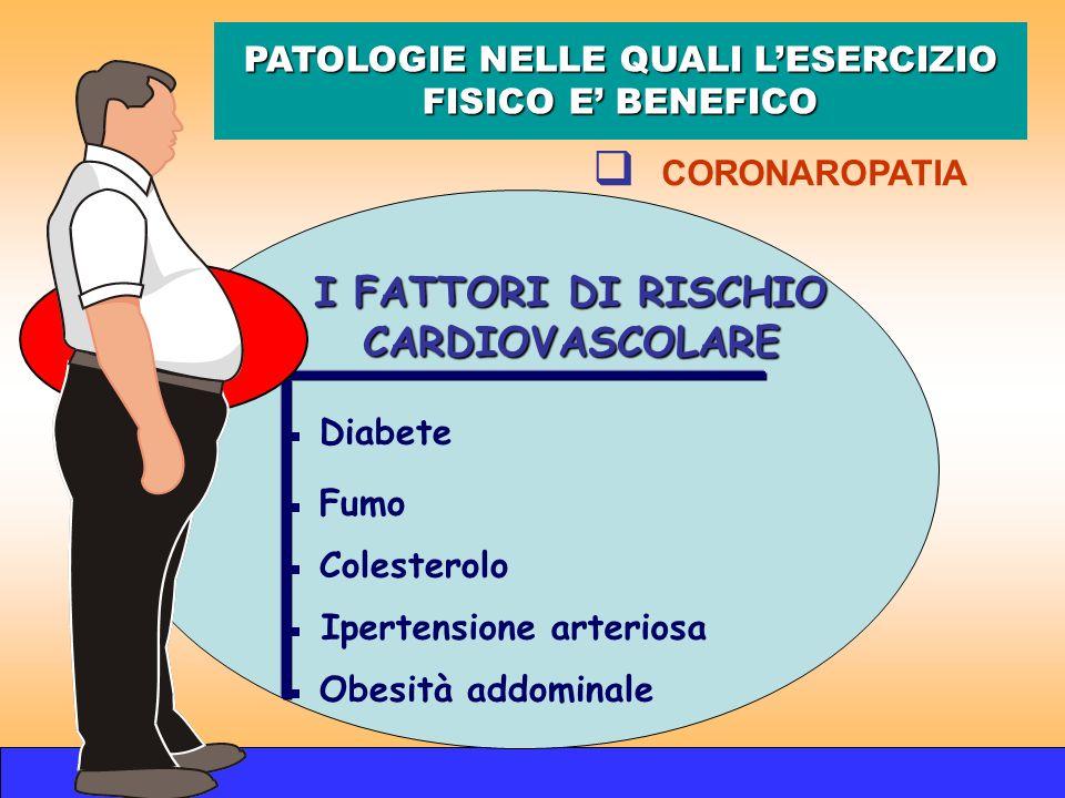 I FATTORI DI RISCHIO CARDIOVASCOLARE Diabete Fumo Colesterolo Ipertensione arteriosa Obesità addominale PATOLOGIE NELLE QUALI LESERCIZIO FISICO E BENE