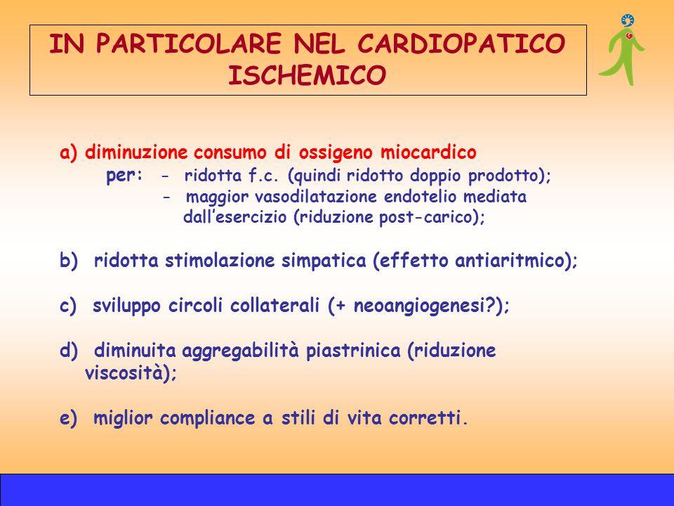 a)diminuzione consumo di ossigeno miocardico per: - ridotta f.c. (quindi ridotto doppio prodotto); - maggior vasodilatazione endotelio mediata dallese