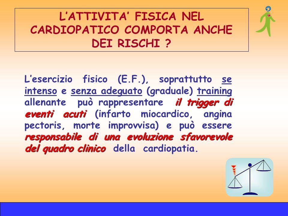 il trigger di eventi acuti responsabile di unaevoluzione sfavorevole del quadro clinico Lesercizio fisico (E.F.), soprattutto se intenso e senza adegu