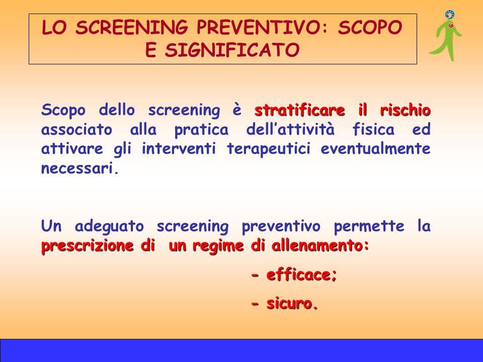 stratificare il rischio Scopo dello screening è stratificare il rischio associato alla pratica dellattività fisica ed attivare gli interventi terapeut