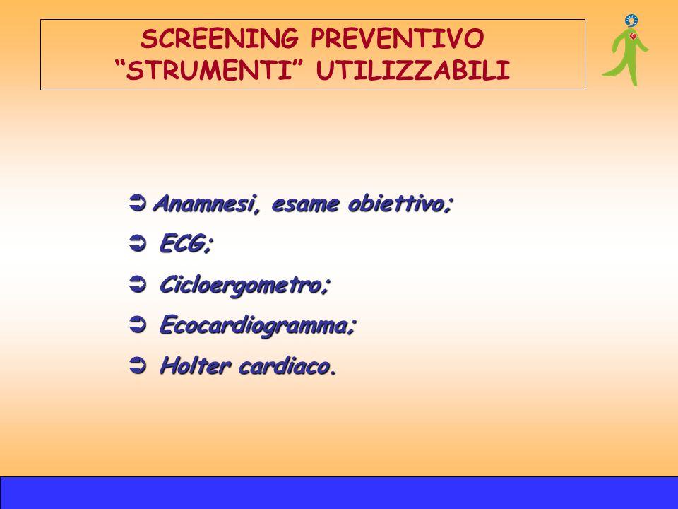 Anamnesi, esame obiettivo; Anamnesi, esame obiettivo; ECG; ECG; Cicloergometro; Cicloergometro; Ecocardiogramma; Ecocardiogramma; Holter cardiaco. Hol