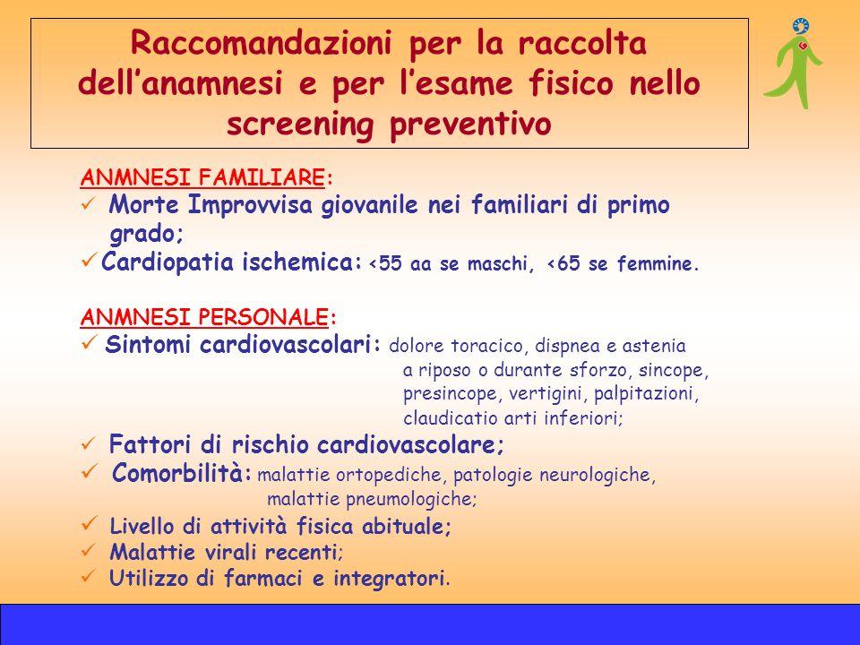 ANMNESI FAMILIARE: Morte Improvvisa giovanile nei familiari di primo grado; Cardiopatia ischemica: <55 aa se maschi, <65 se femmine. Raccomandazioni p