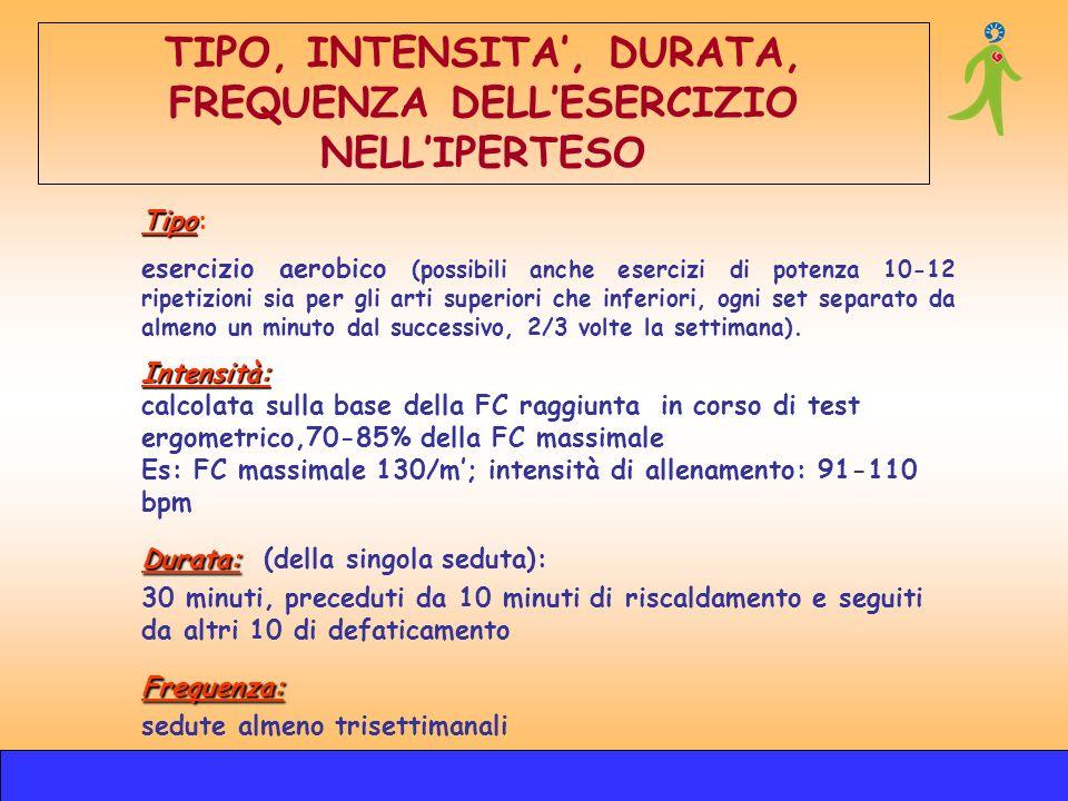 Tipo Tipo: esercizio aerobico (possibili anche esercizi di potenza 10-12 ripetizioni sia per gli arti superiori che inferiori, ogni set separato da al