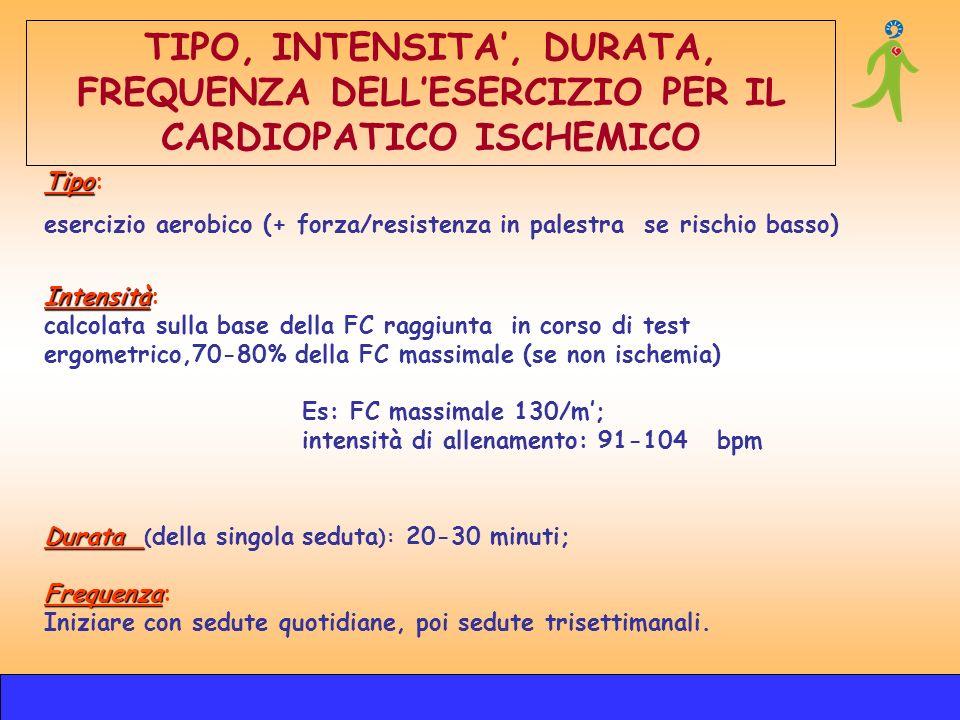 Tipo Tipo: esercizio aerobico (+ forza/resistenza in palestra se rischio basso) Intensità Intensità: calcolata sulla base della FC raggiunta in corso