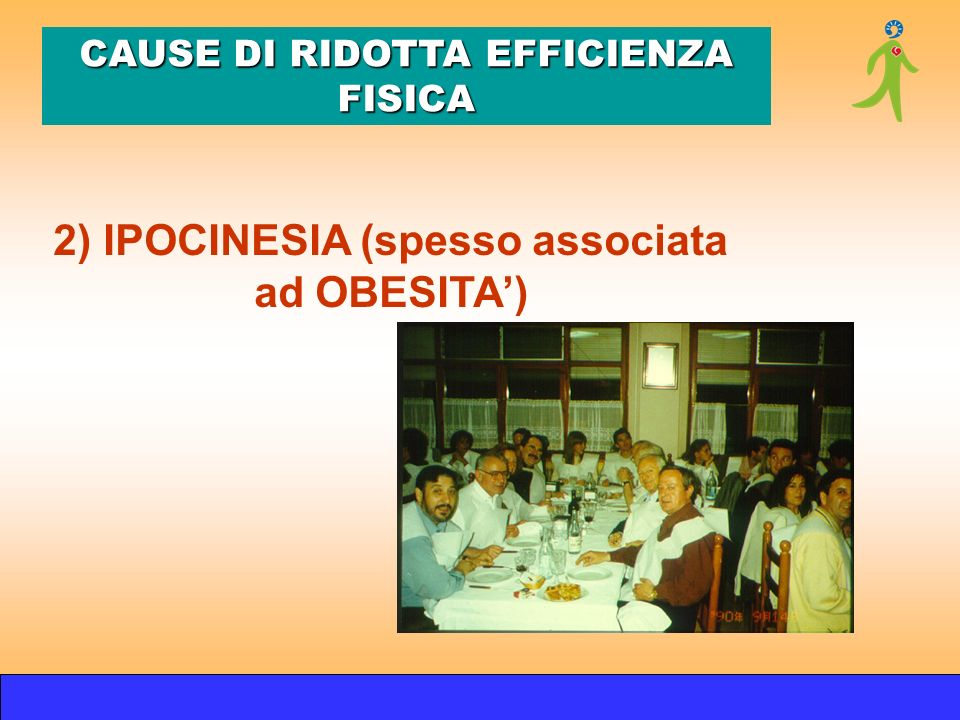 2) IPOCINESIA (spesso associata ad OBESITA) CAUSE DI RIDOTTA EFFICIENZA FISICA