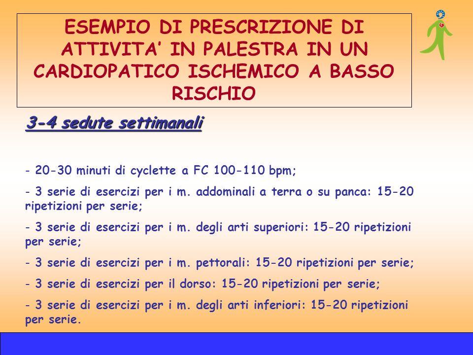 3-4 sedute settimanali - 20-30 minuti di cyclette a FC 100-110 bpm; - 3 serie di esercizi per i m. addominali a terra o su panca: 15-20 ripetizioni pe