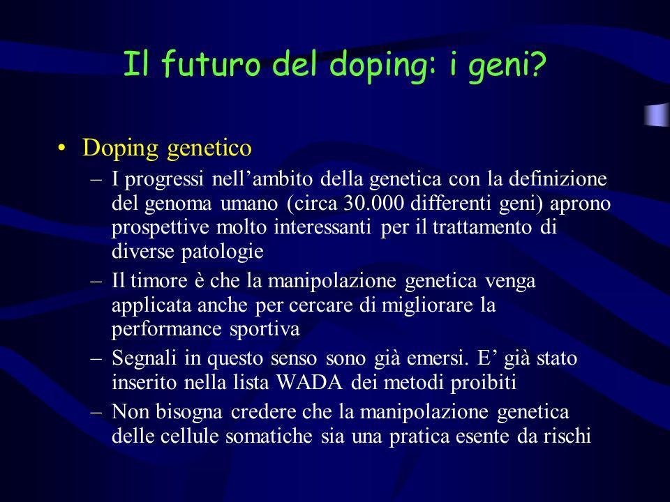 Il futuro del doping: i geni? Doping genetico –I progressi nellambito della genetica con la definizione del genoma umano (circa 30.000 differenti geni