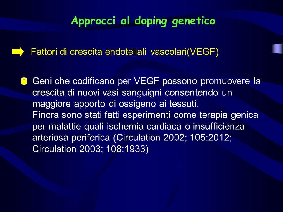 Approcci al doping genetico Fattori di crescita endoteliali vascolari(VEGF) Geni che codificano per VEGF possono promuovere la crescita di nuovi vasi