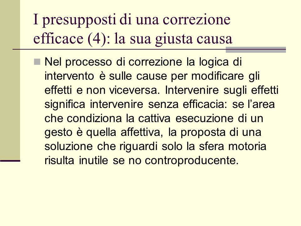 I presupposti di una correzione efficace (4): la sua giusta causa Nel processo di correzione la logica di intervento è sulle cause per modificare gli