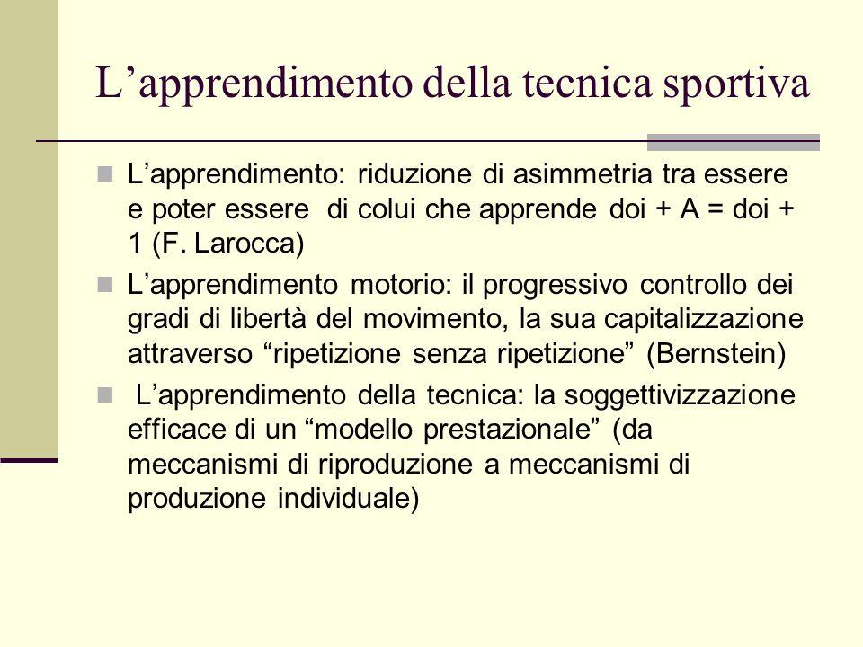 Lapprendimento della tecnica sportiva Lapprendimento: riduzione di asimmetria tra essere e poter essere di colui che apprende doi + A = doi + 1 (F. La