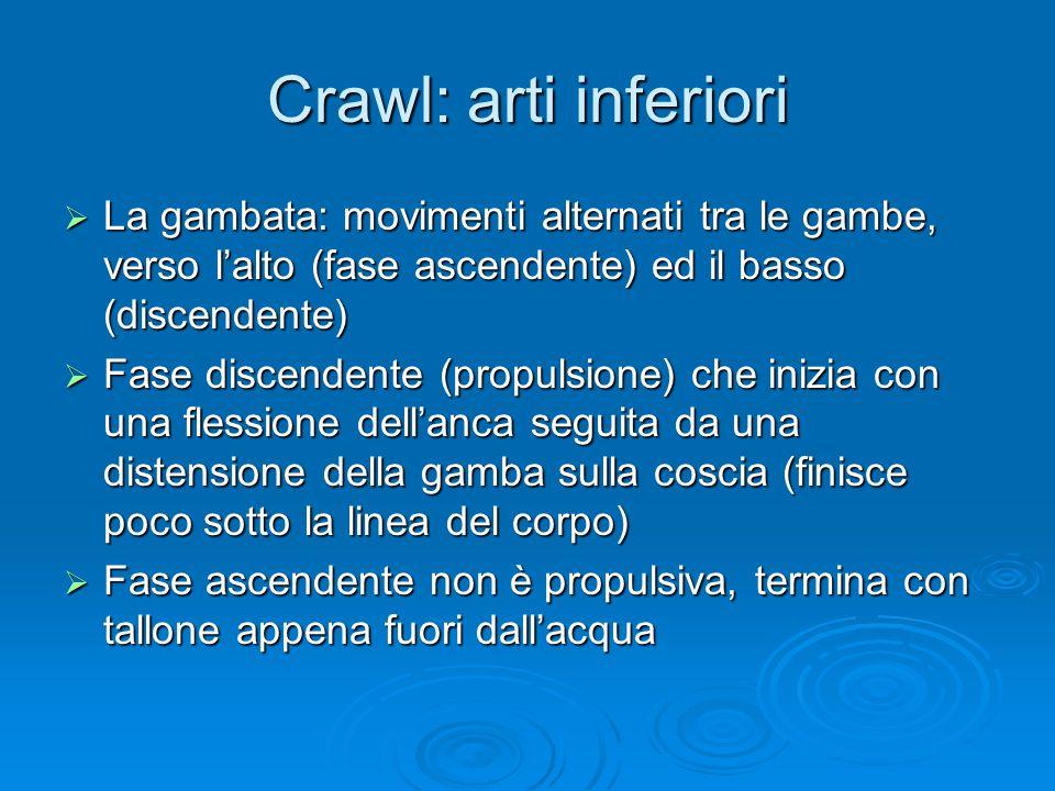 Crawl: arti inferiori La gambata: movimenti alternati tra le gambe, verso lalto (fase ascendente) ed il basso (discendente) La gambata: movimenti alte