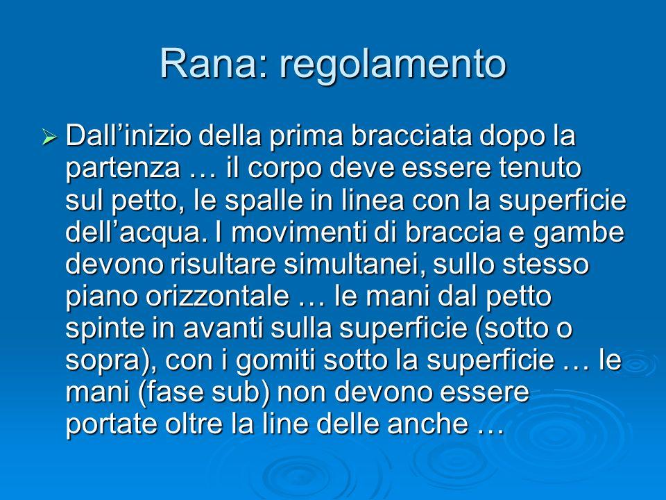 Rana: regolamento Dallinizio della prima bracciata dopo la partenza … il corpo deve essere tenuto sul petto, le spalle in linea con la superficie dell