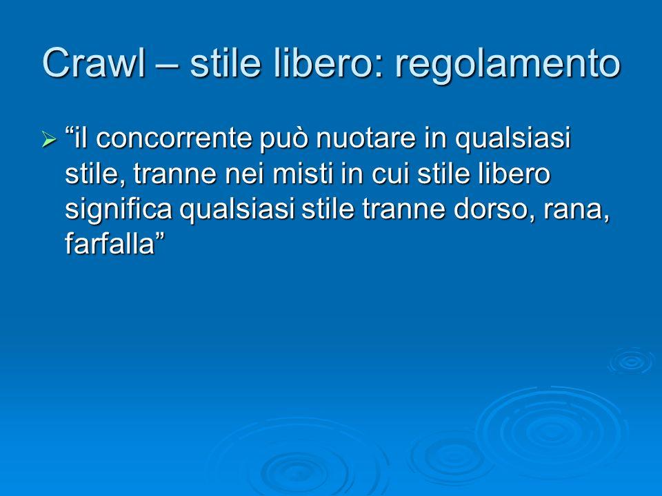 Crawl – stile libero: regolamento il concorrente può nuotare in qualsiasi stile, tranne nei misti in cui stile libero significa qualsiasi stile tranne