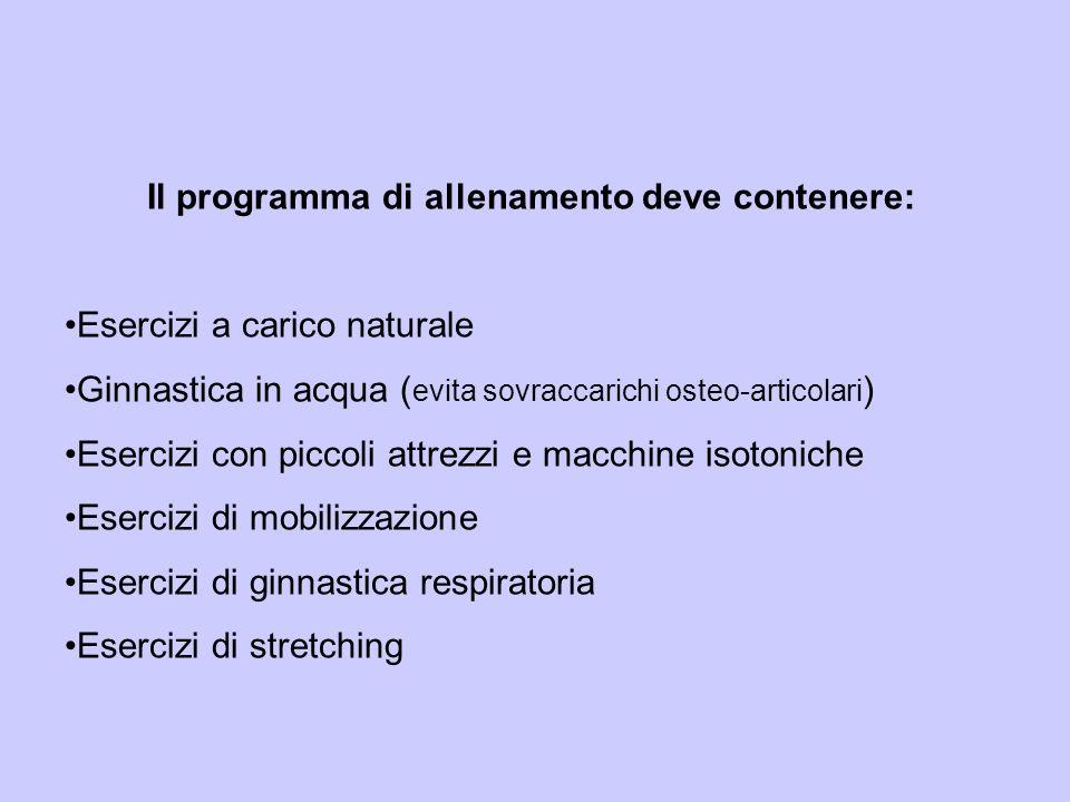 Il programma di allenamento deve contenere: Esercizi a carico naturale Ginnastica in acqua ( evita sovraccarichi osteo-articolari ) Esercizi con picco