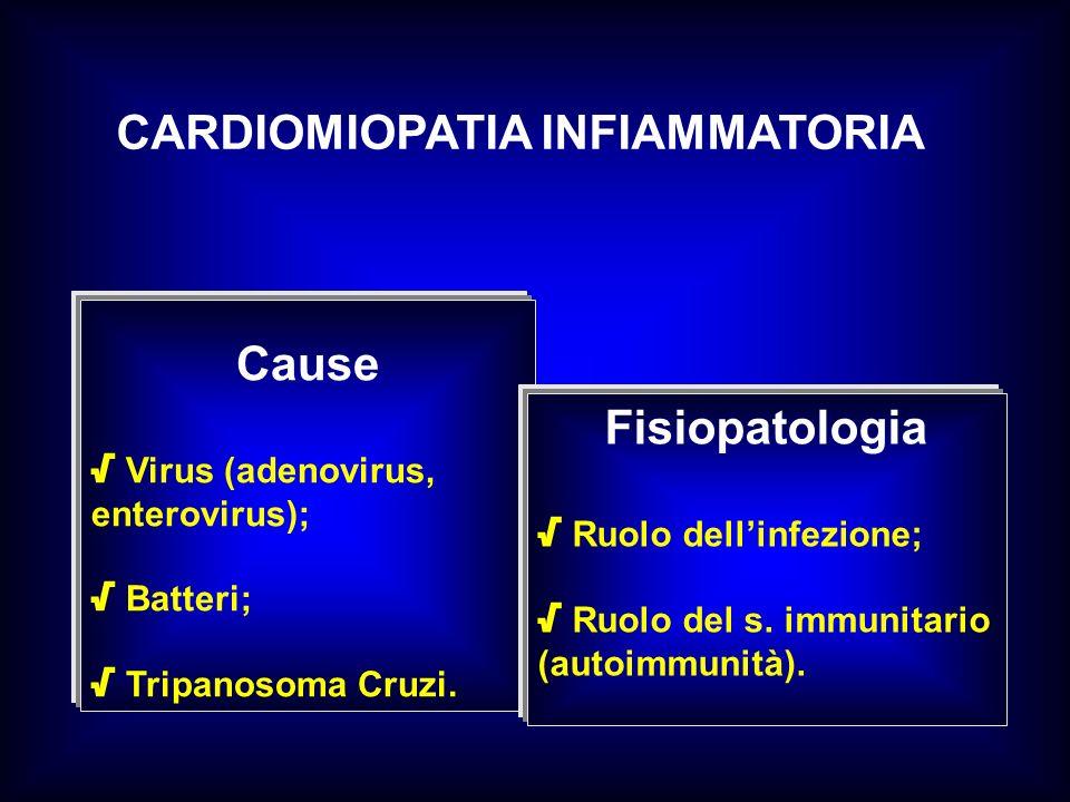 CARDIOMIOPATIA INFIAMMATORIA Cause Virus (adenovirus, enterovirus); Batteri; Tripanosoma Cruzi. Fisiopatologia Ruolo dellinfezione; Ruolo del s. immun