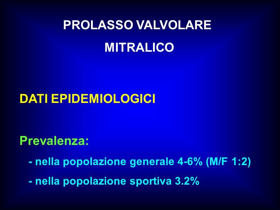 PROLASSO VALVOLARE MITRALICO DATI EPIDEMIOLOGICI Prevalenza: - nella popolazione generale 4-6% (M/F 1:2) - nella popolazione sportiva 3.2%
