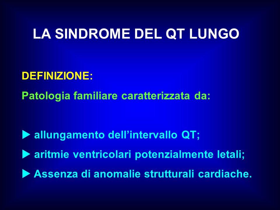 LA SINDROME DEL QT LUNGO DEFINIZIONE: Patologia familiare caratterizzata da: allungamento dellintervallo QT; aritmie ventricolari potenzialmente letal
