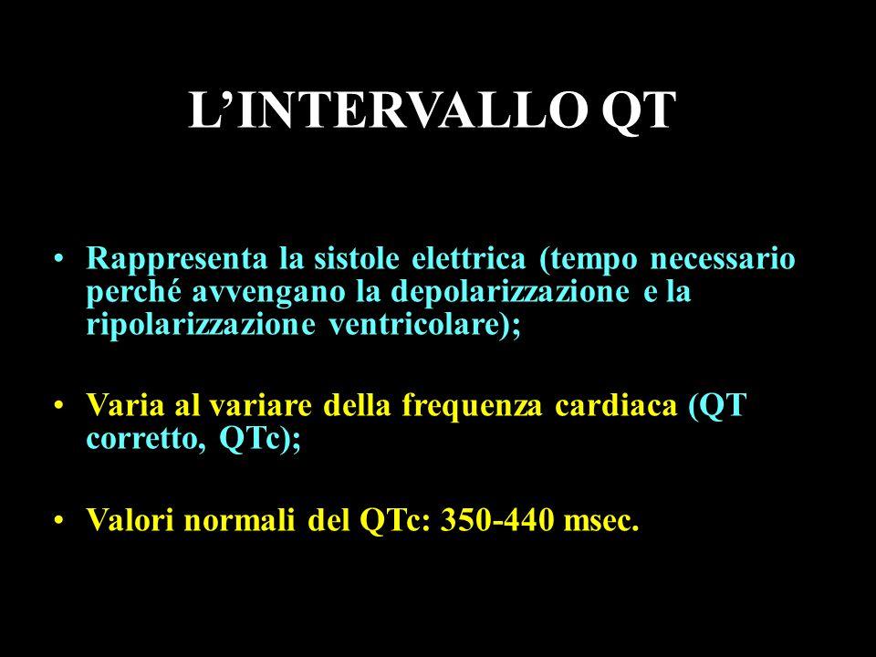 LINTERVALLO QT Rappresenta la sistole elettrica (tempo necessario perché avvengano la depolarizzazione e la ripolarizzazione ventricolare); Varia al v