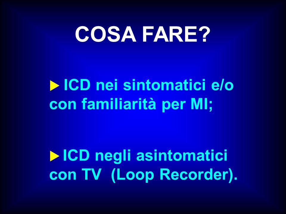 COSA FARE? ICD nei sintomatici e/o con familiarità per MI; ICD negli asintomatici con TV (Loop Recorder).