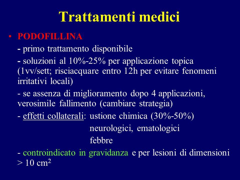 Trattamenti medici PODOFILLINA - primo trattamento disponibile - soluzioni al 10%-25% per applicazione topica (1vv/sett; risciacquare entro 12h per ev