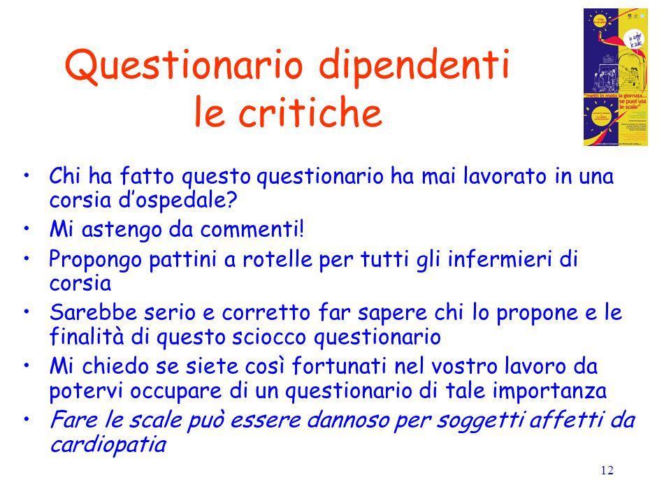 12 Questionario dipendenti le critiche Chi ha fatto questo questionario ha mai lavorato in una corsia dospedale.