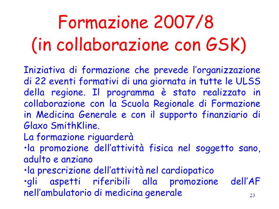 23 Formazione 2007/8 (in collaborazione con GSK) Iniziativa di formazione che prevede lorganizzazione di 22 eventi formativi di una giornata in tutte le ULSS della regione.