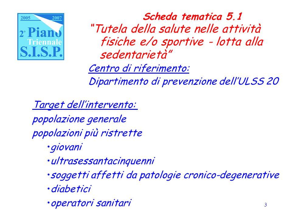 4 Scheda tematica 5.1 Obiettivi promozione della salute nellambito delles.