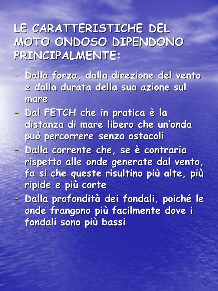LE CARATTERISTICHE DEL MOTO ONDOSO DIPENDONO PRINCIPALMENTE: - Dalla forza, dalla direzione del vento e dalla durata della sua azione sul mare - Dal F