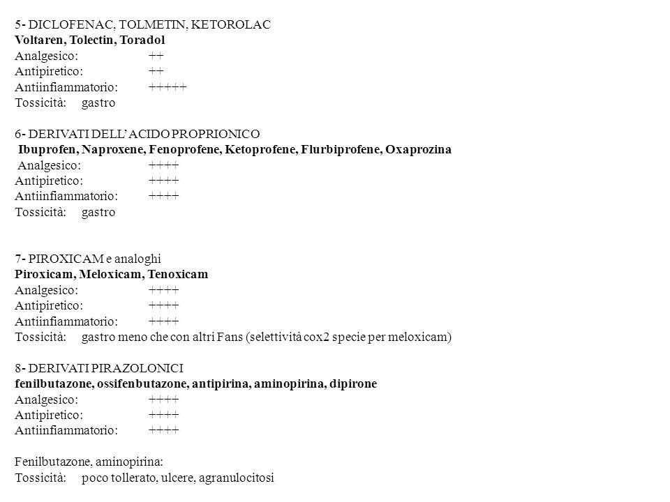 5- DICLOFENAC, TOLMETIN, KETOROLAC Voltaren, Tolectin, Toradol Analgesico: ++ Antipiretico: ++ Antiinfiammatorio:+++++ Tossicità: gastro 6- DERIVATI D