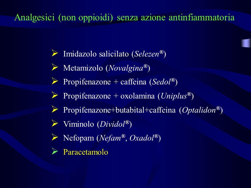 Analgesici (non oppioidi) senza azione antinfiammatoria Imidazolo salicilato (Selezen ® ) Metamizolo (Novalgina ® ) Propifenazone + caffeina (Sedol ®